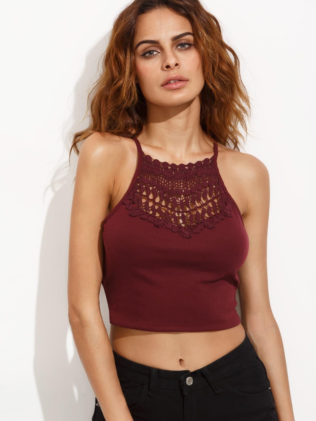 Фото Burgundy Crochet Insert Lattice Side Ribbed Cami Top. Купить с доставкой
