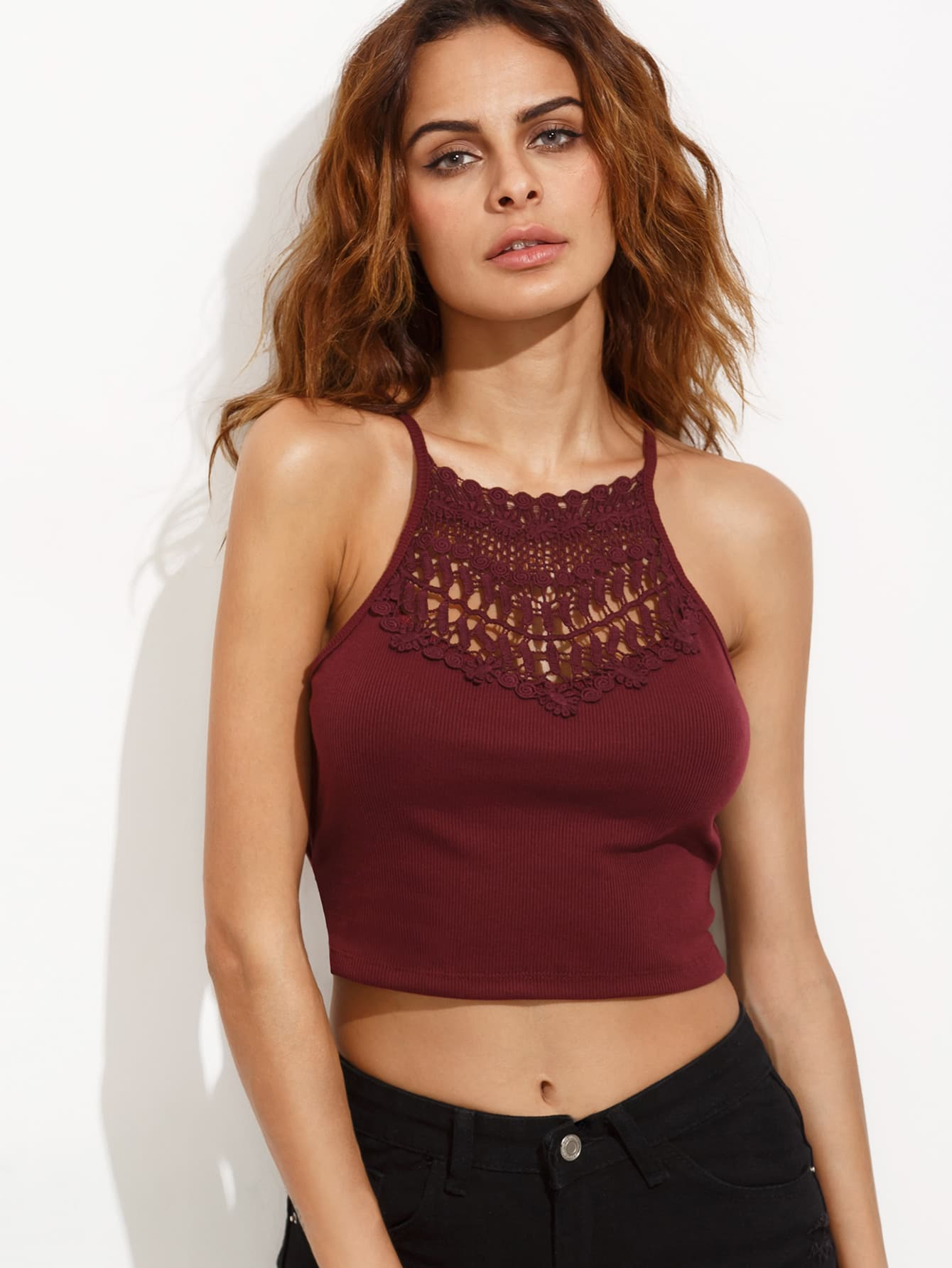 Burgundy Crochet Insert Lattice Side Ribbed Cami Top vest160707021