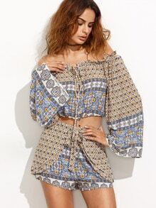 Blue Off The Shoulder Tribal Top With Wrap Shorts