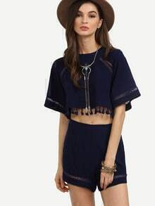 Navy Split Back Tassel Trim Eyelet Top With Shorts
