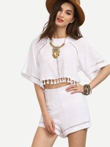 White Split Back Tassel Trim Eyelet Top With Shorts