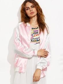 Pink Daisy Embroidered Raglan Sleeve Satin Baseball Jacket