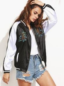 Black Embroidered Raglan Sleeve Satin Baseball Jacket