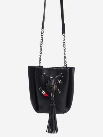 Black Lovely Charm Studded Tassel Drawstring Bucket Bag