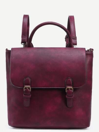 Burgundy Dual Buckled Strap Front Distressed Satchel Bag