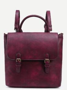 Burgundy Dual Buckled Strap Front Distressed Satchel Bag