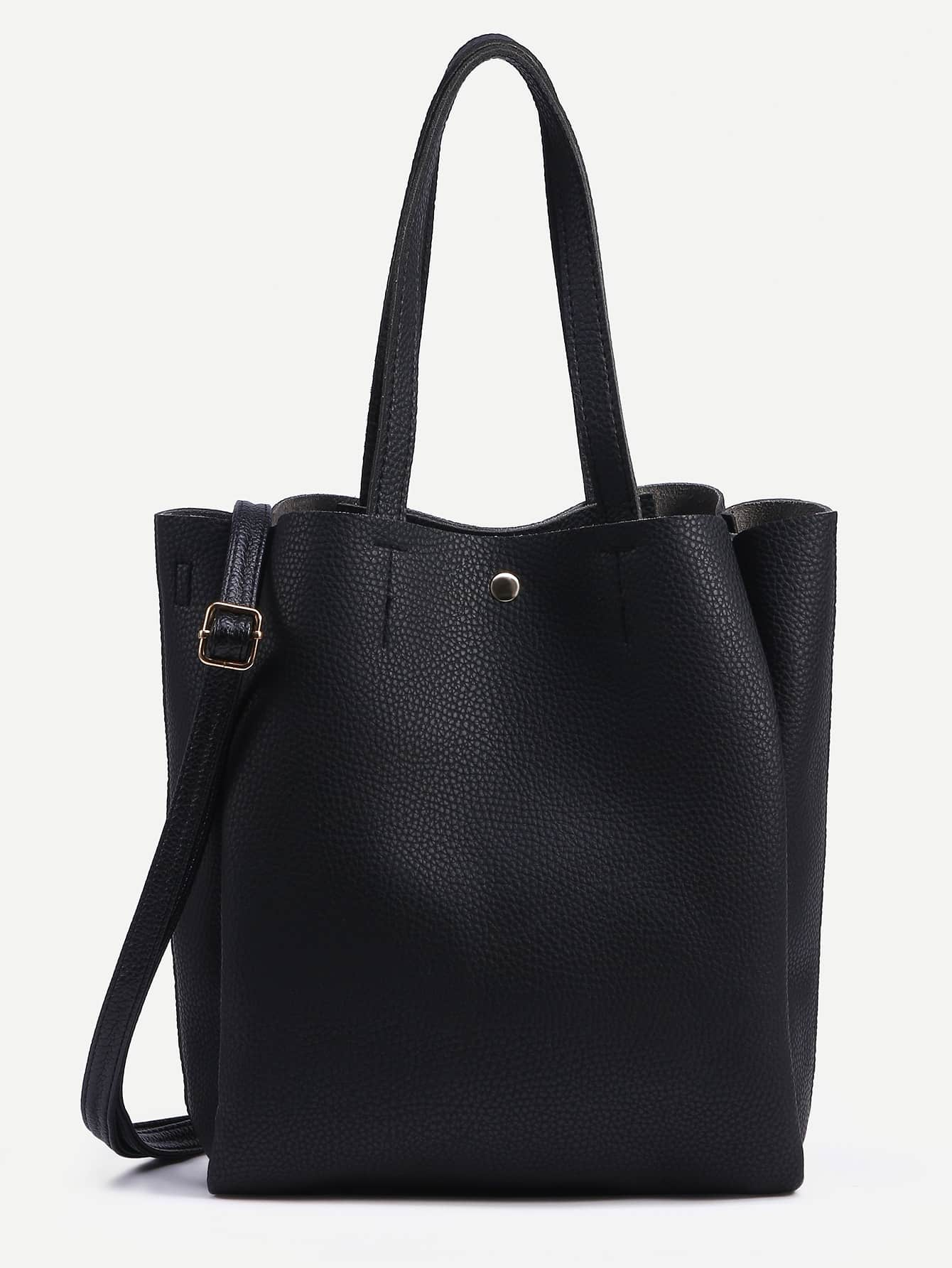 Black Pebbled Layered Tote Bag With Strap -SheIn(Sheinside)