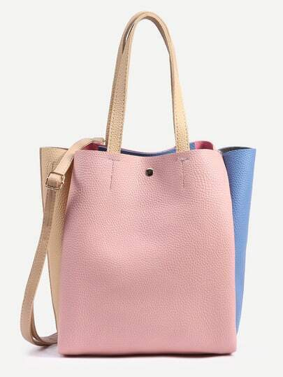 Color Block Pebbled Layered Tote Bag With Strap -SheIn(Sheinside)