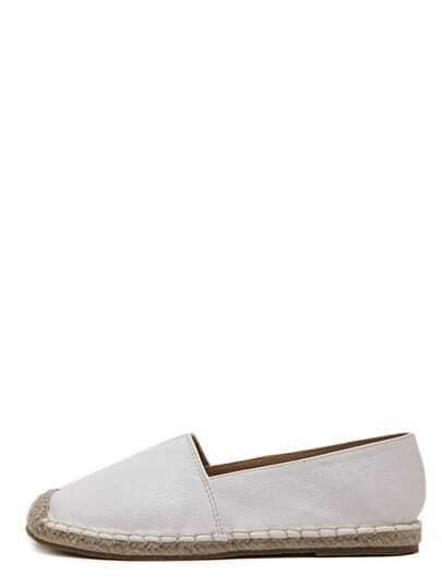 Alpargatas de lona puntera redonda - blanco