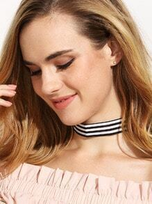 Black and White Striped Choker Necklace