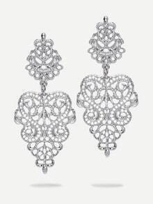 Silver Hollow Drop Earrings