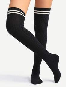 Black Striped Trim Over Knee Socks