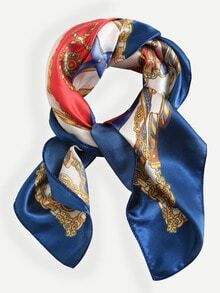 Multicolor Print Silk Square Scarf