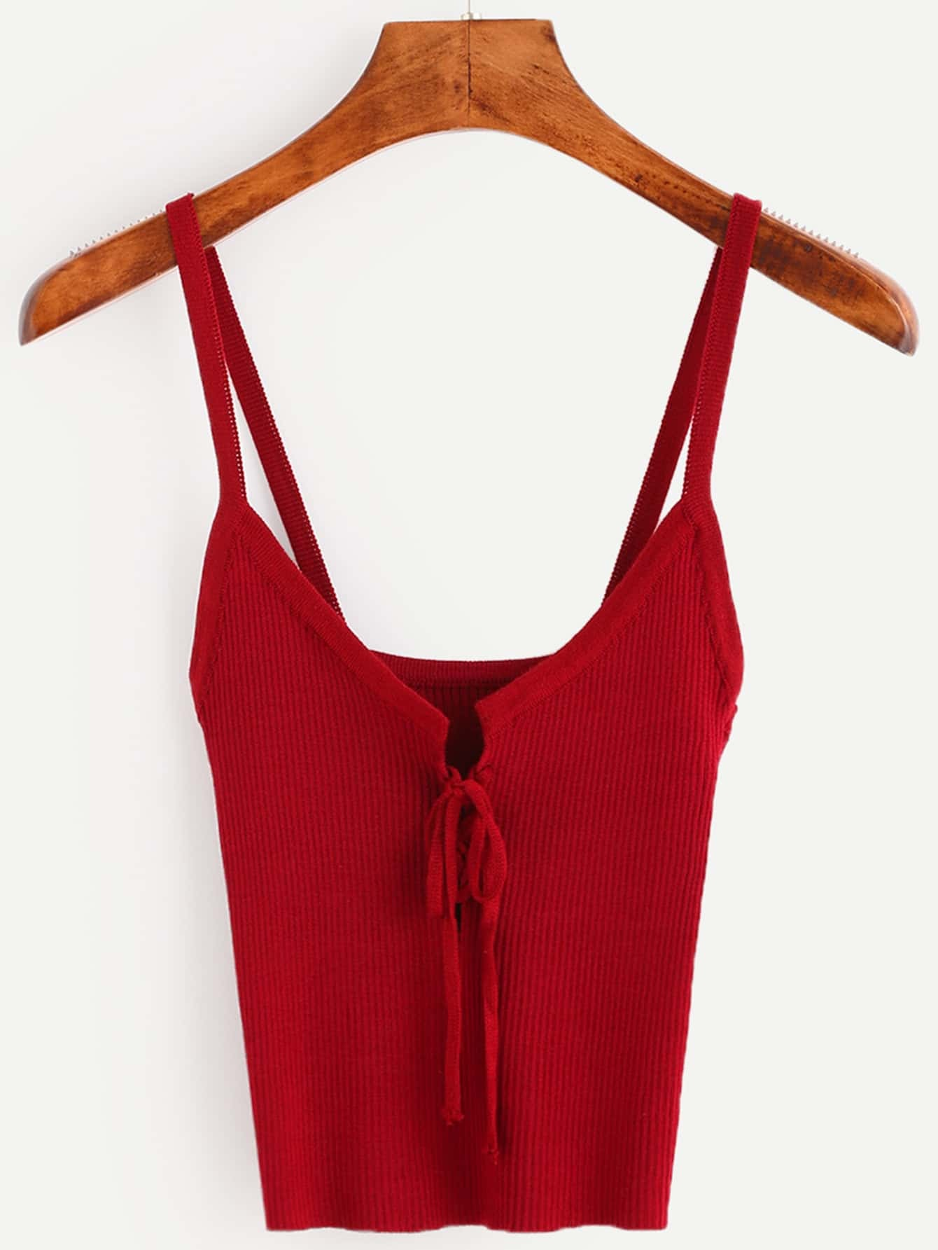 Burgundy Lace Up Ribbed Cami Top vest160707006