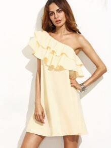 Apricot Ruffle One Shoulder Shift Dress