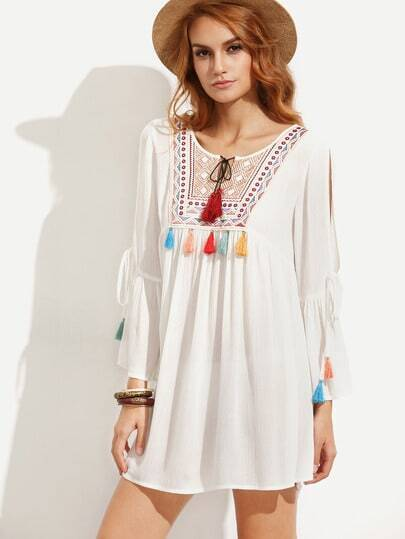 White Embroidered Tassel Tie Split Sleeve Dress