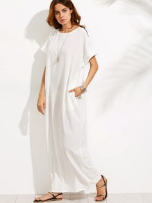 Black and White Spliced Lace Short Sleeve Maxi Dress