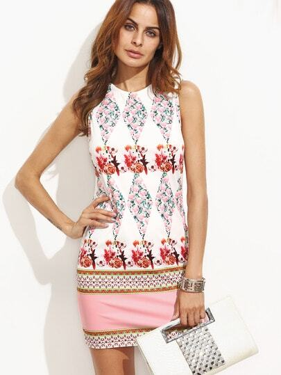 Tropical Print Sheath Dress