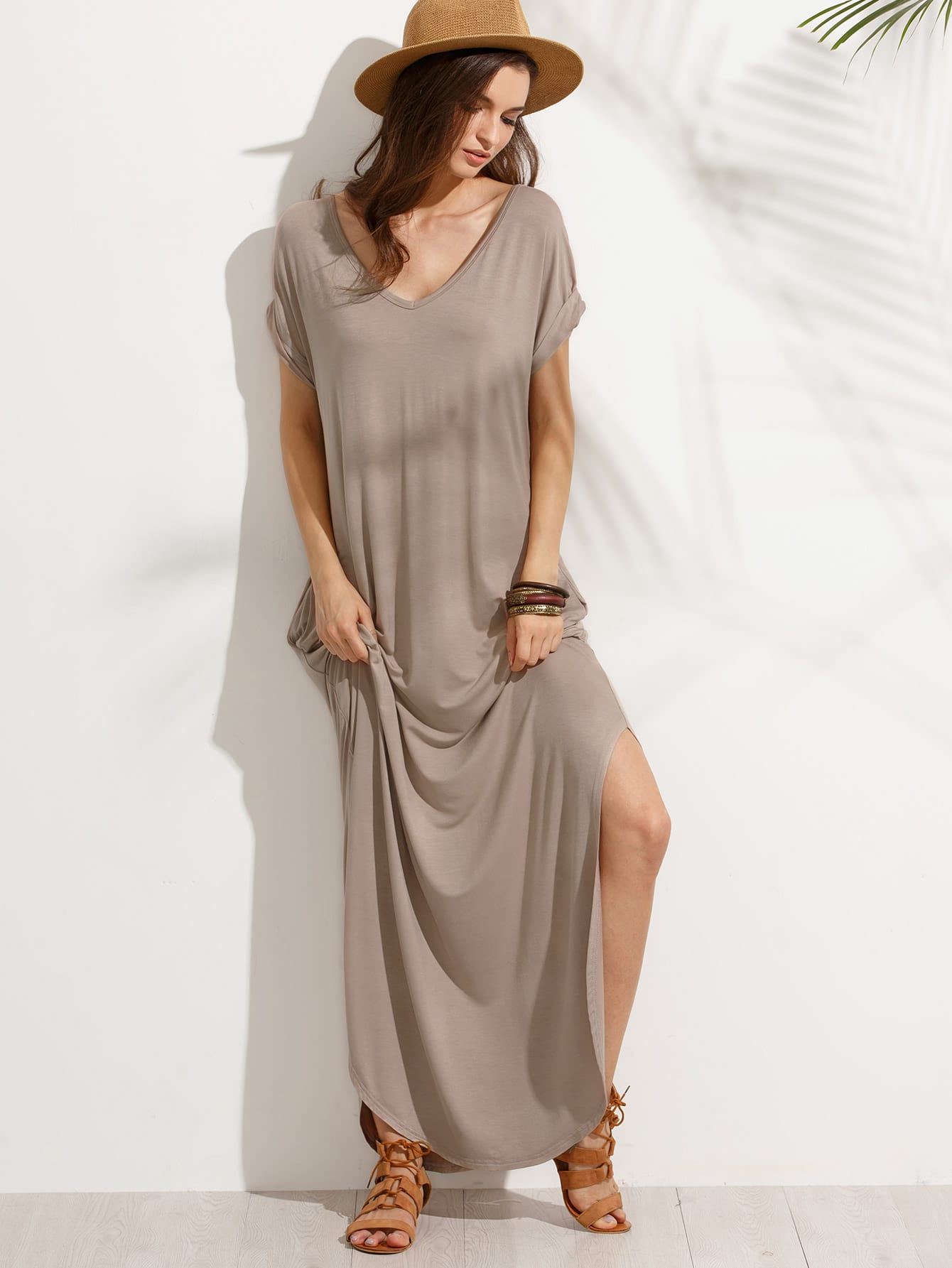 Rolled Sleeve Pocket Split Side Floor Length Dress pocket open shoulder split full length dress