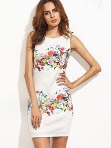 Multicolor Floral Sleeveless Bodycon Dress