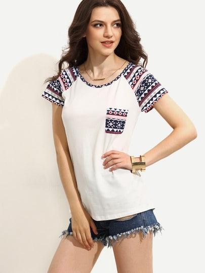 Camiseta estmapada manga corta - blanco