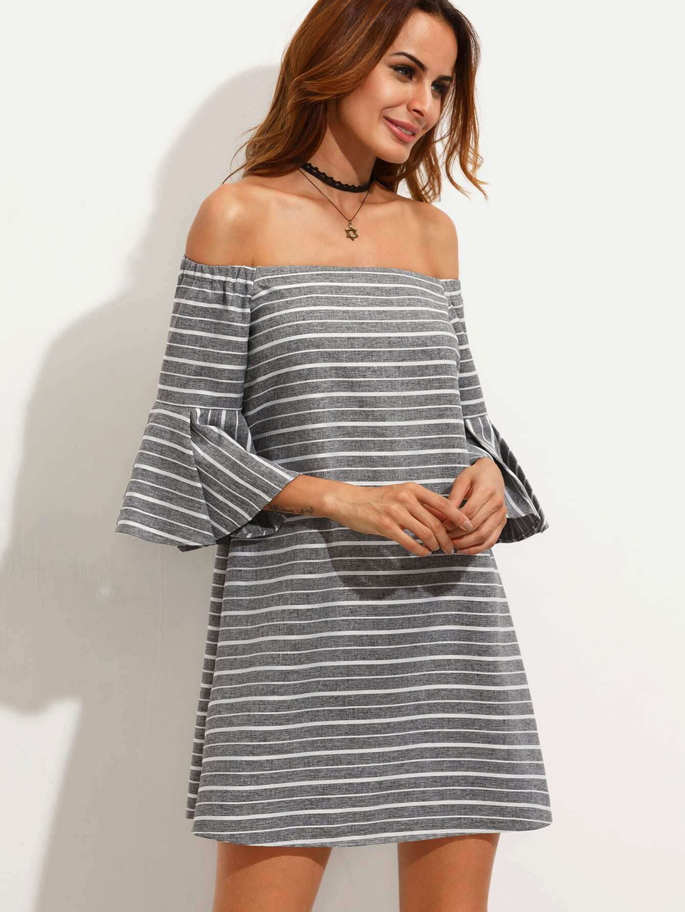 Grey Striped Ruffle Sleeve Off The Shoulder Dress ruffle layer off the shoulder striped jumpsuit