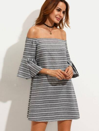 Grey Striped Ruffle Sleeve Off The Shoulder Dress