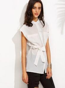 White Cap Sleeve Band Collar Pocket Blouse With Belt