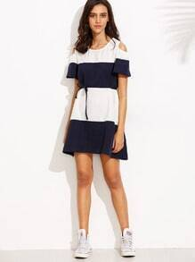 Color Block Cold Shoulder Dress With Sashes