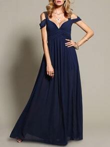 Navy Shoulder Dress