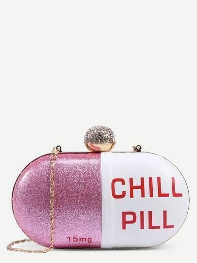 White Pill Shaped Clutch With Rhinestone Ball Closure