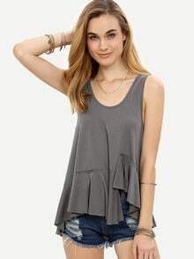 Grey Asymmetrical Ruffle Hem Tank Top