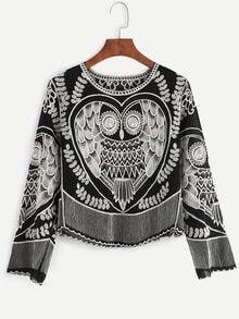 Black Embroidered Chiffon Blouse