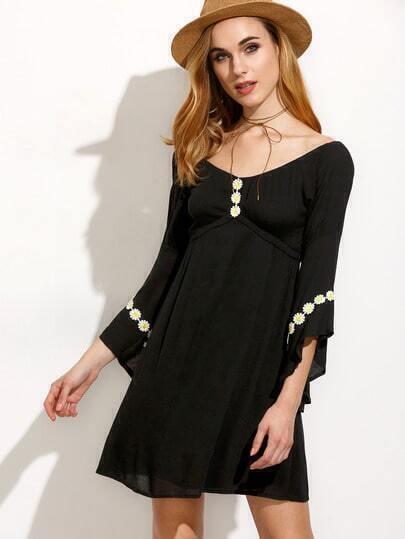 Black Daisy Applique Bell Sleeve Empire Waist Dress