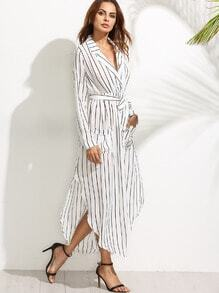White Vertical Striped Notch Lapel Belted Shirt Dress