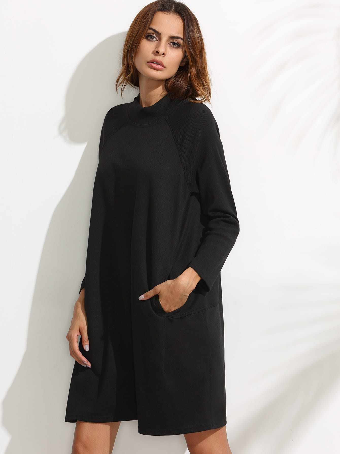 Black Ribbed Raglan Sleeve Sweatshirt Dress dress160708113