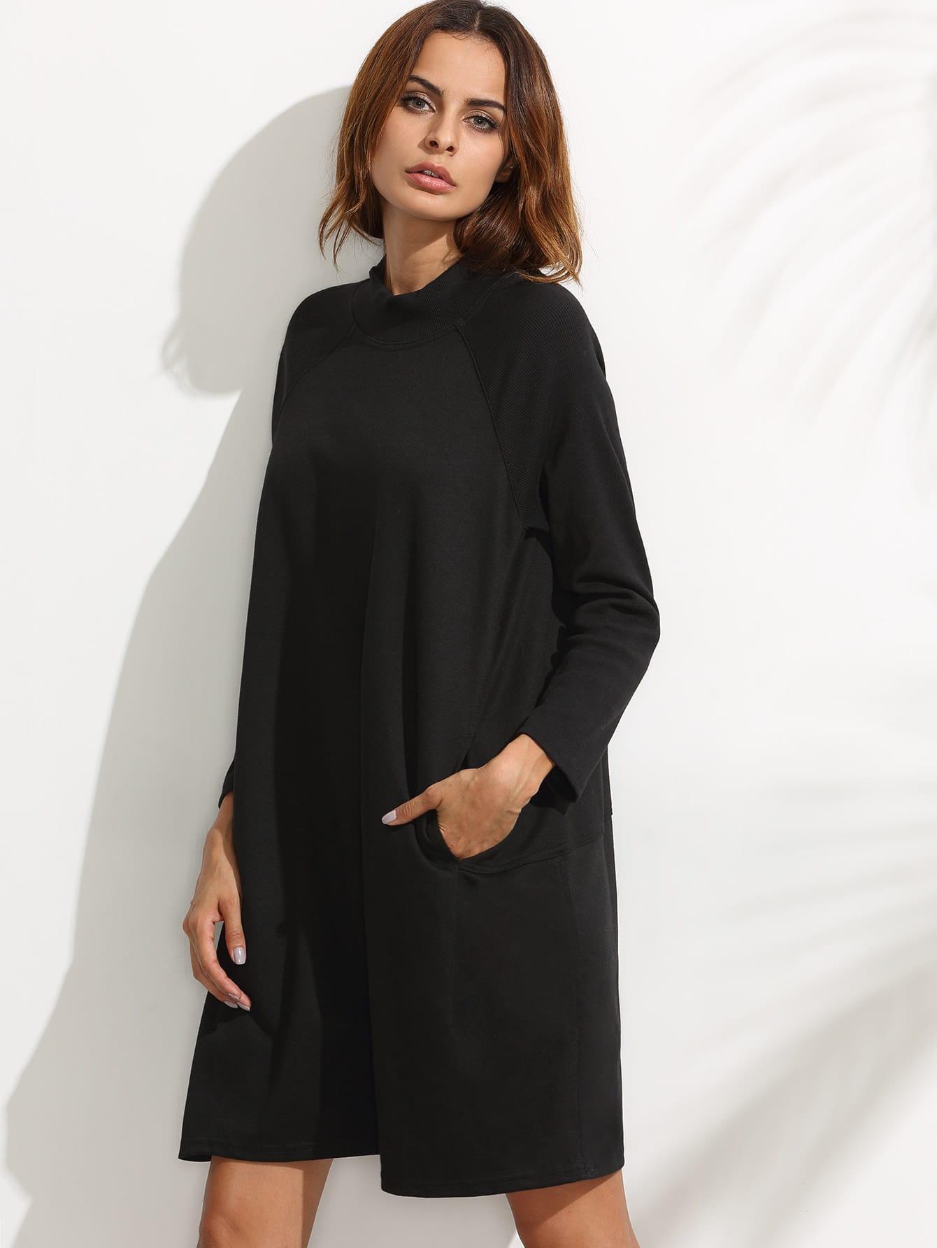 Black Ribbed Raglan Sleeve Sweatshirt Dress dress160708113