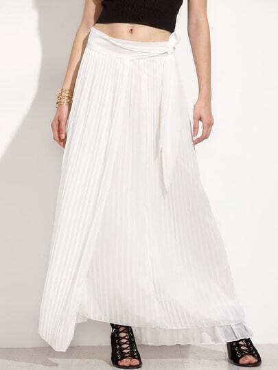 White Pleated Wrap Skirt