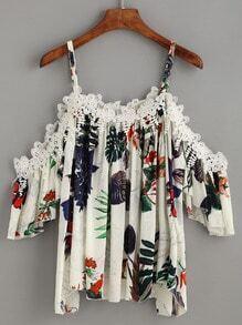 White Tropical Print Crochet Applique Cold Shoulder Top