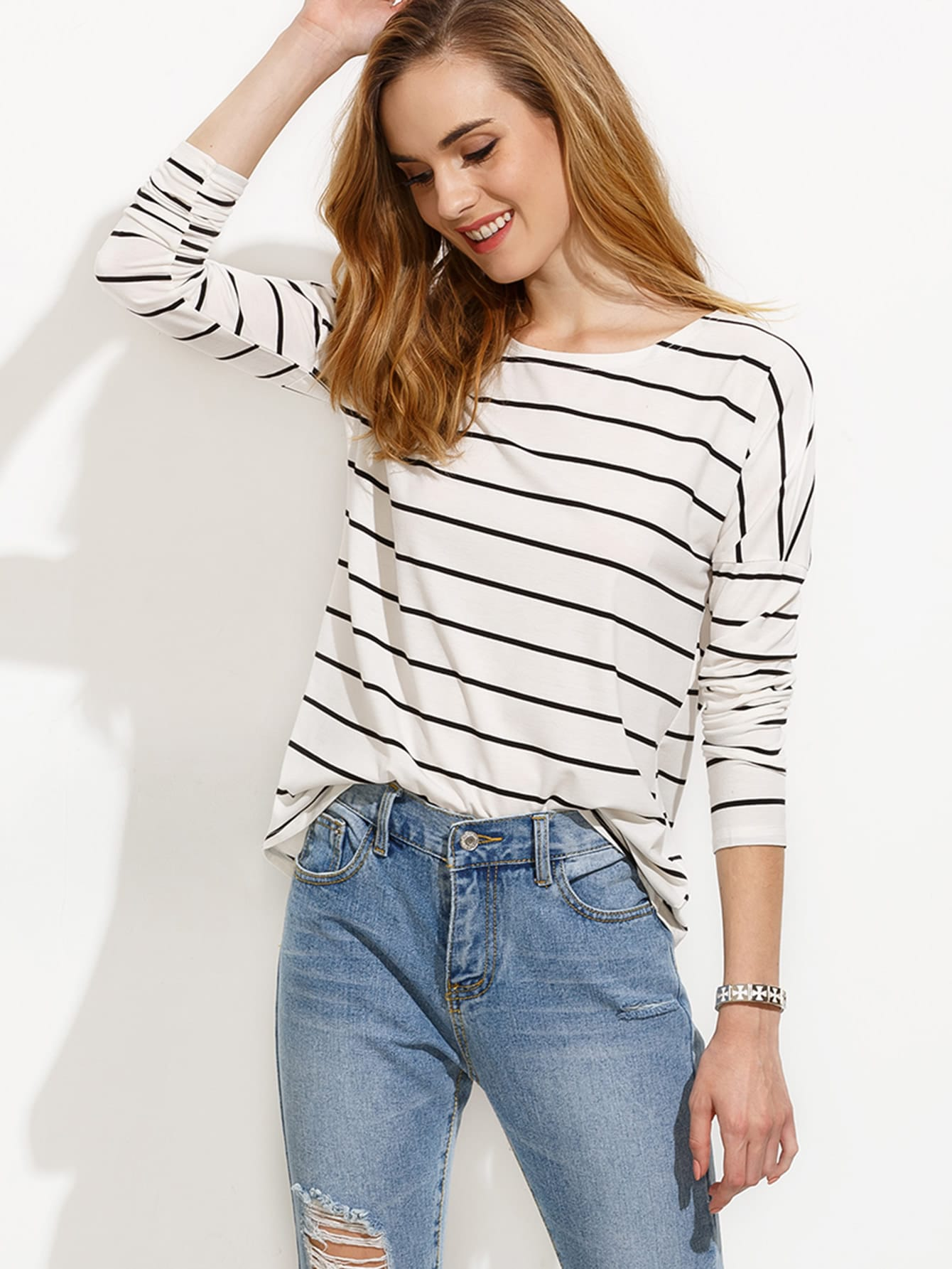 White Striped Drop Shoulder T-shirt two tone drop shoulder sweatshirt