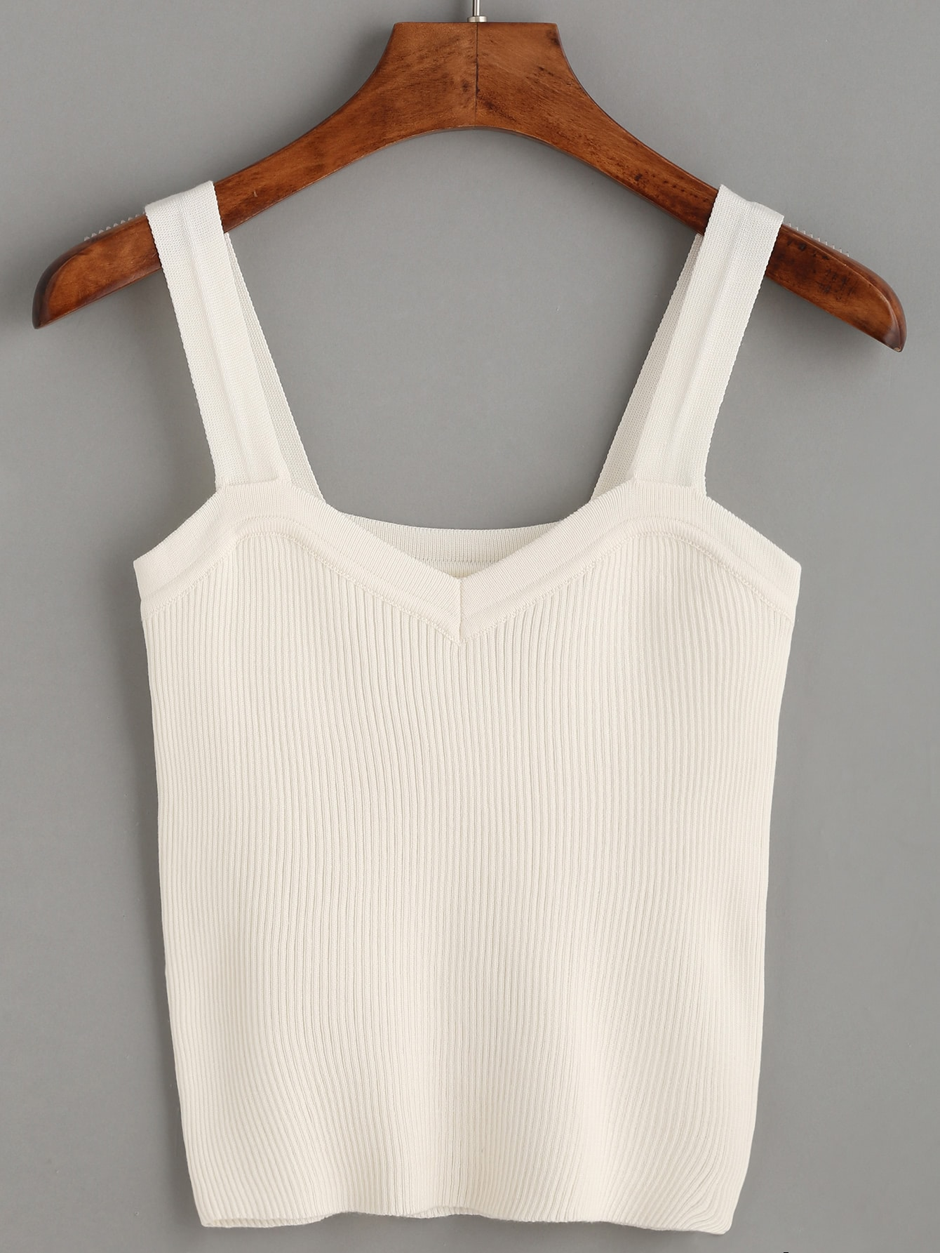 White Wide Strap Ribbed Top vest160708006