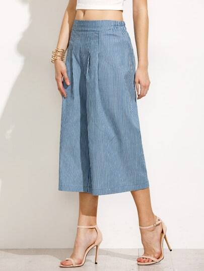 Blue Vertical Striped Pleated Culottes