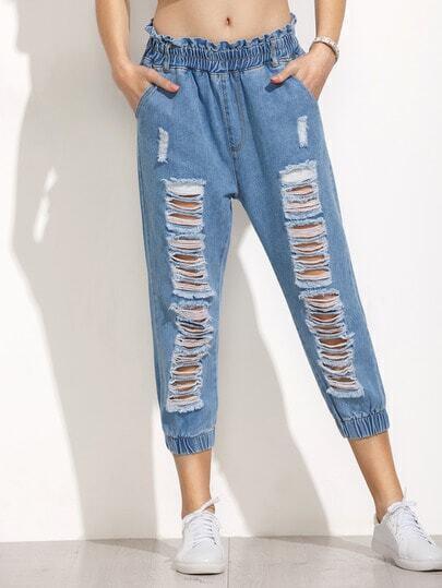 Blue Ripped Ruffle Waist Elastic Hem Jeans