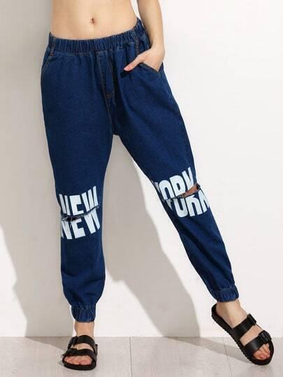 Blue Letter Print Knee Ripped Elastic Hem Jeans
