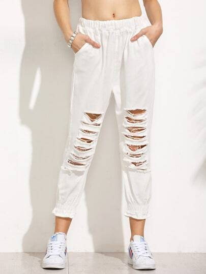 White Ripped Ruffle Elastic Hem Jeans