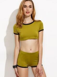 Green Contrast Trim Crop T-shirt With Shorts