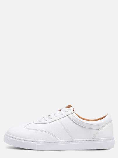 White Round Toe Lace-up Thick-soled Sneakers