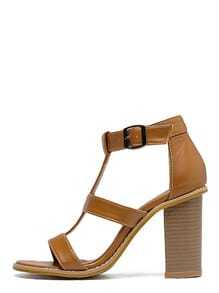 Brown Peep Toe Buckle T-strap Sandals