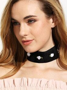 Black Minimalist Flower Choker Necklace