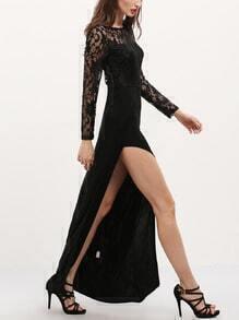 black long sleeve with lace split maxi dress sheinsheinside
